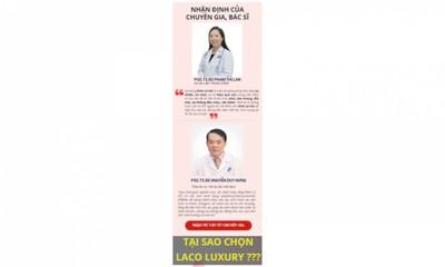 Công ty TNHH Quốc tế LACO Dùng hình ảnh chuyên gia y tế quảng cáo nhưng không xin phép
